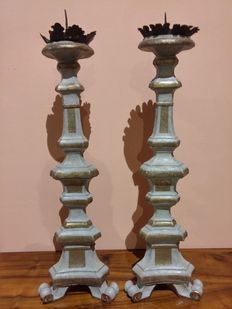 Pair of large silver lacquered candlesticks - Venice - early 19th century