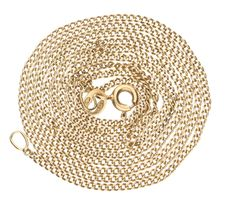 Yellow gold curb link necklace.