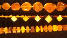 Genuine Baltic amber necklace, set of 3 pieces, 65gr