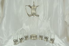 Very rare crystal liquor set and silver plated metal mount in Art Nouveau style
