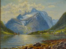 Unknown (20th century) - Swiss mountain landscape with glacier from the lake shoreline.