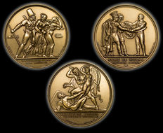 """France – 20th century – """"Napoleon/Imperial collection"""" medals – Lot of 3 – Bronze"""