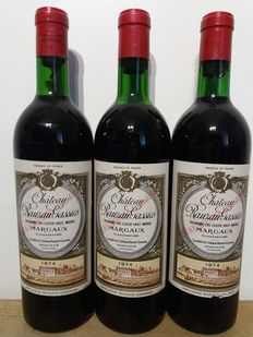 1974 Chateau Rauzan-Gassies, Margaux – 3 bottles