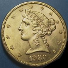 U.S.A. 5 gold Dollars 1880, LIBERTY HEAD