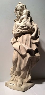 Mary with child - concrete statue - for outside - Belgium - 2nd half of the 20th century