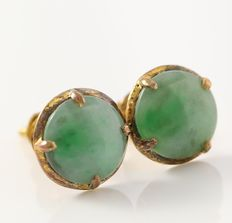 Estate 18kt Yellow Gold Stud Earrings Set with Nephrite Jade