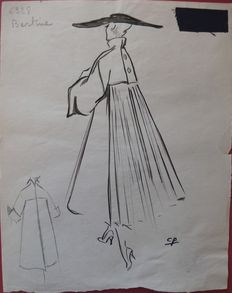 Pierre Cardin (attributed to) - Cape mantle, pleated in the back.