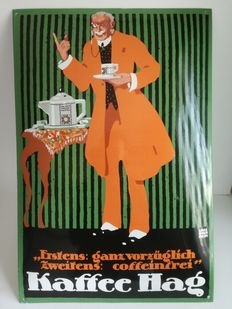 Enamel advertising sign - Kaffee Hag - 1988