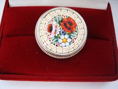 Vintage - 1950s - Italy  – Round Mosaic handcrafted Brooch / Pin with Floral motif