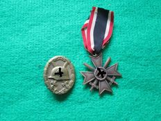3rd Reich wounded badge black + war merit medal 2nd class with swords WW2