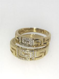 Set of gold engagement rings set with brilliant cut diamond, approx. 0.45 ct