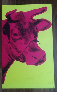 Andy Warhol - Cow (Pink on Yellow)