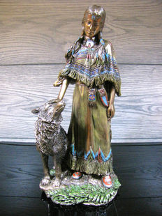 Indian Woman petting a Wolf - XL sculpture
