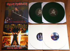 Iron Maiden- Lot of 2x limited edition lp's (both double lp's!): Stockholm Scream For Me! (100 copies only, green wax!) & Long Live The Iron (100 copies only, white wax!)