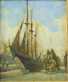Unknown (French/Belgian School 1st half 20th century) - 3-master in the harbour with carriage, horses and figures