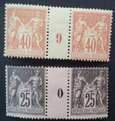 France 1881/1886 – Sage Type II, 2  Vintage Pairs 0 and 9, Signed Roumet  – Yvert no. 94 and 97.