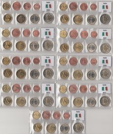 Italy - Year sets of Euro coins 2002 and 2005 through 2012 complete