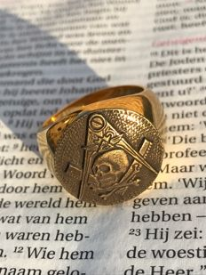 Masonic ring Memento Mori