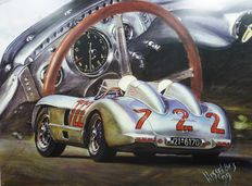 "Mercedes 300 SLR MILLE MIGLIA 1955 - original Lithographie Hessel Bes - ""THE SILVER DREAM"" - Stirling Moss"
