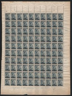 Italy, 1911 – Block of 100 stamps – 15 cent. – Grey/black.