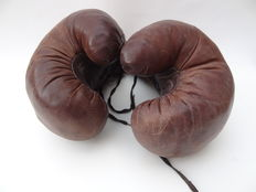 Boxing - Vintage Leather boxing gloves - 1st half 20th century