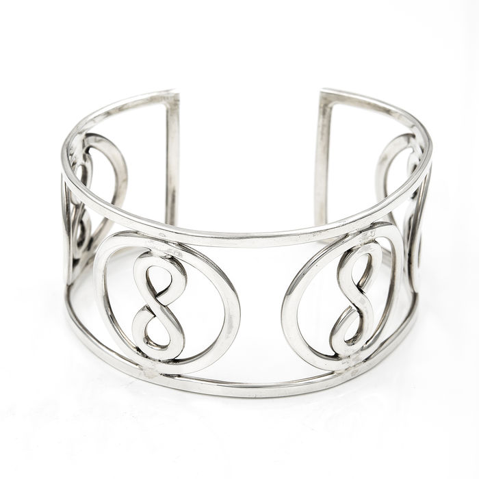 Open And Rigid Bracelet In Sterling Silver With Infinity Symbol