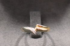 14 kt bi-colour gold ring with 4 diamdonds 0.030 ct