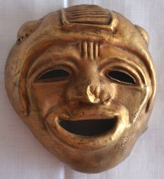 Pre Colombian Tumbaga gold  Ritual Mask - 110 x 95 x 55 mm