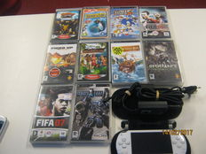 Sony PSP + mem card + bag + 10 original boxed games. Sims 2,fired up,fifa,Resistance,Ratched and clank,Sonic rivals,etc