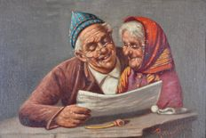 Achille Petrocelli (1861-1929) - An old couple reading the paper.
