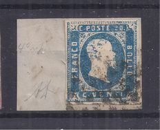 Italy – Sardinia, 1851 – Blue, 20 cent. – Sassone catalogue #2.