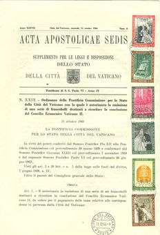 Italy Vaticano 1966 - 1978 Official papal letter: 'Acta Apostolicae Sedis'. Seals on documents.