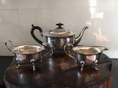 Three piece art deco Silver tea set, John Rose, Birmingham, 1933