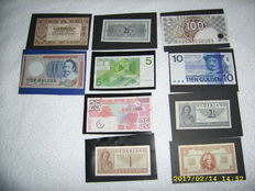 Netherlands - 10 Dutch banknotes from 1 guilder up to and including 100 guilders