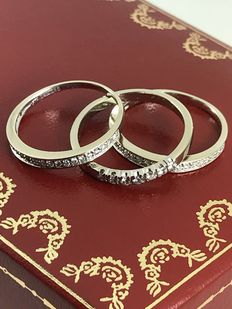 Triple diamonds 14k gold rings