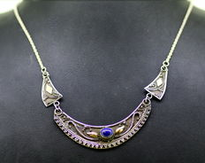 Vintage Sterling Silver Ladies Necklace With Lapis Lazuli