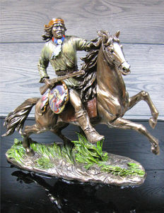 Indian Riding on Horse - XL sculpture