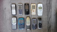 Lot of 10 vintage Nokia mobile phones - including iconic models like 3210, 3310, 6310 and C1-01