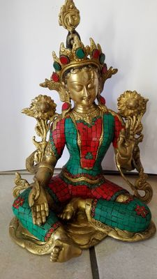 Green Tara made of bronze - India - late 20th century