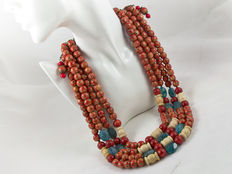 Ethnic multi-row necklace - wood, coral, agate, shell