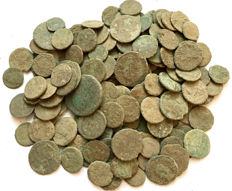 Roman Empire -Large collection of 160 Roman bronze coins-not cleaned- 1st / 4th. Century A.D.