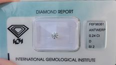 Diamante naturale da 0,24 ct - D - SI2 con incisione laser.