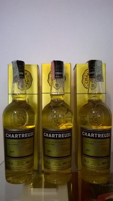3 bottles of Chartreuse Jaune / Yellow Chartreuse (bottled in the late 1990s)