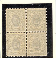 Luxembourg 1875 - National coat of arms 10 centimes - Michel 31 in block of 4 - Perforation 13.