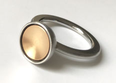 Bicoloured gold ring - 14 kt white gold and rose gold