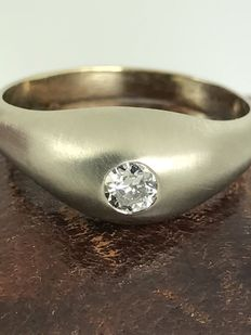 Men's diamond solitaire 18k gold ring size 65