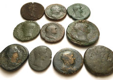 Lot of 10 Ancient Roman Bronze coins: A small selection of Sestertii, Dupondius and Asses from different emperors 21-33mm.