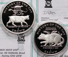 "Isla de Man. Coronas, año 1997, ""History of the cat"" (historia del gato). 2 monedas de plata."