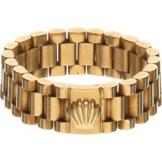 Yellow gold rolex link ring