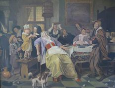 Frans van Valderen, 1962, -interior with many persons, after Jan Steen